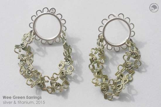 2015 Heather Sprig Wee Green Earrings: Silver and Titanium